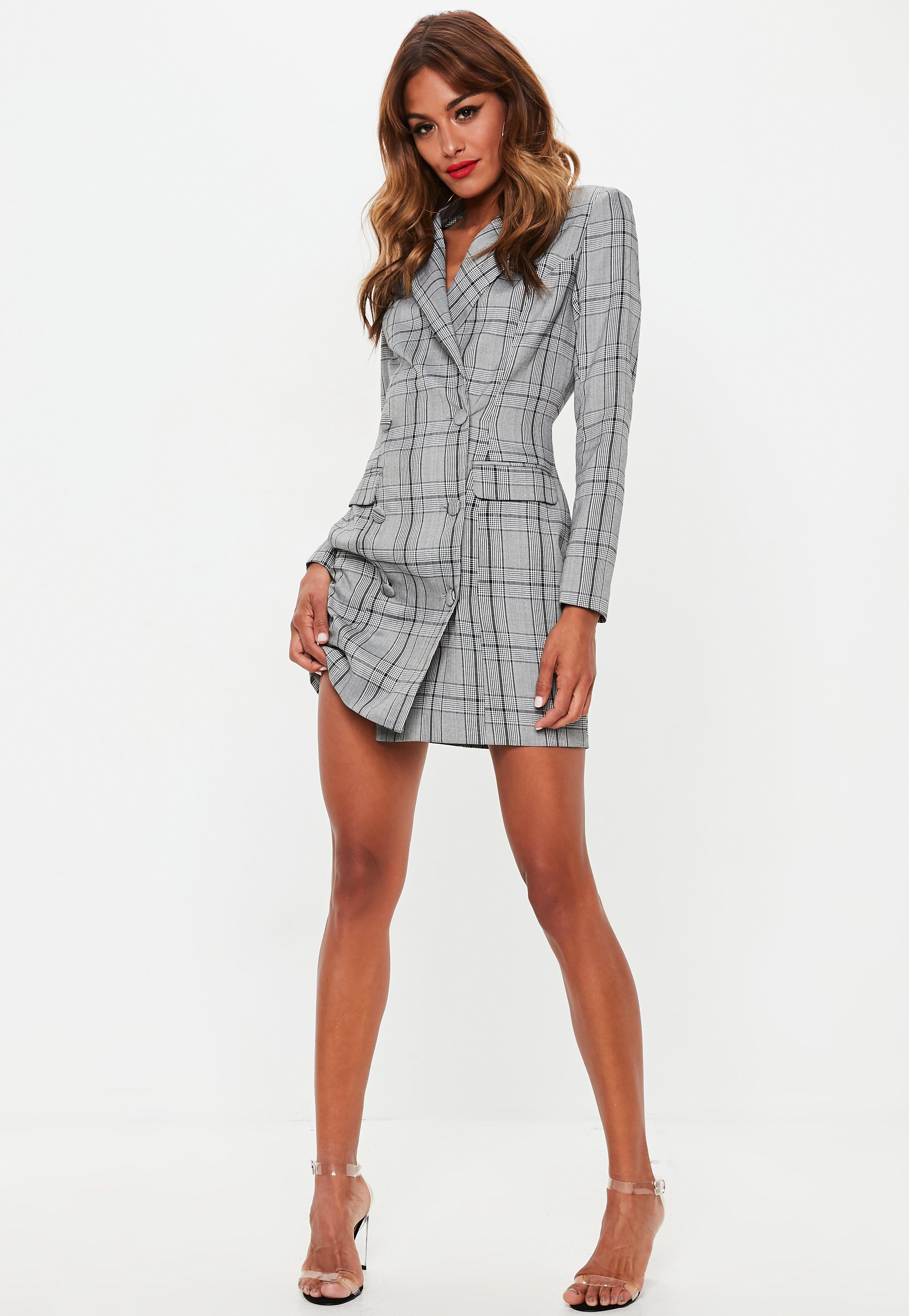 b8d504dc575 Gray Hertie Plaid Blazer Dress Missd