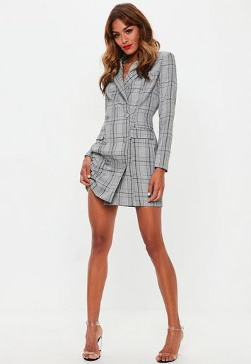 be8c01b49a01a Gray Hertitage Plaid Blazer Dress | Missguided