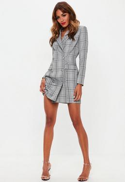 2fa5efce899 Grey Hertitage Check Blazer Dress