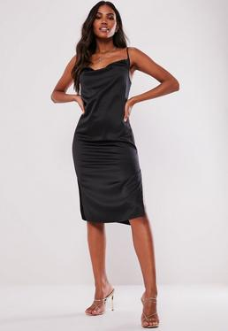 e9d19e964ab36 Black Satin Strappy Cowl Midi Dress