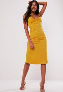 Bauer bodycon lace up satin golden orange dress cowl