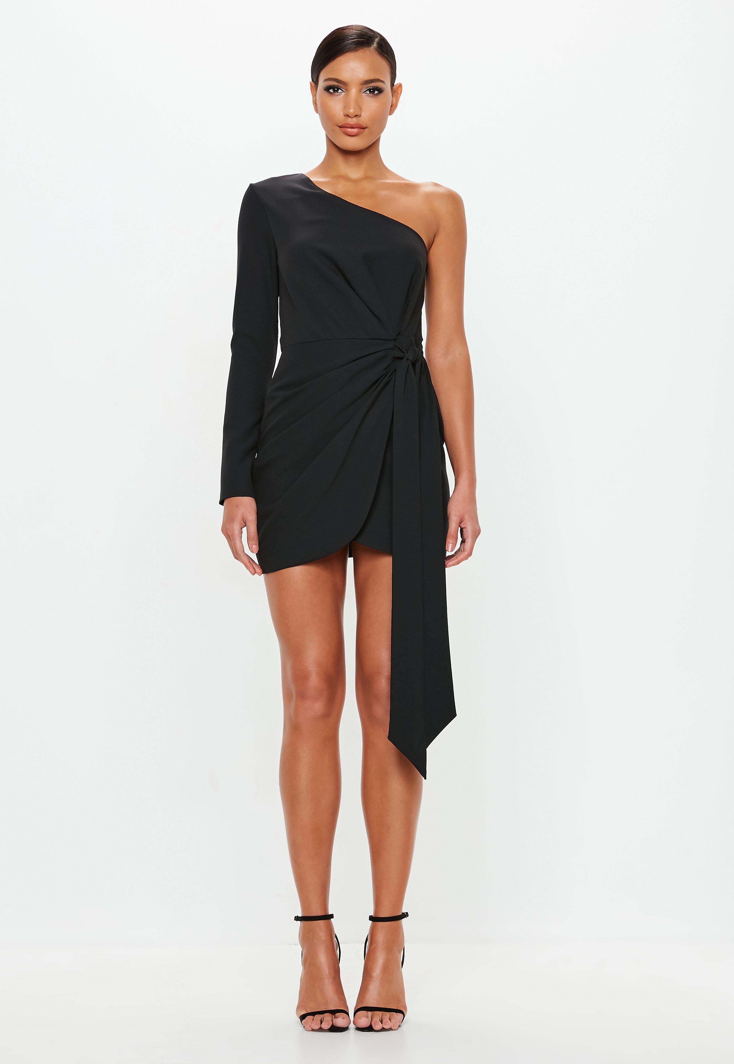 52d2d524a883 Peace + Love Black Wrap One Shoulder Mini Dress