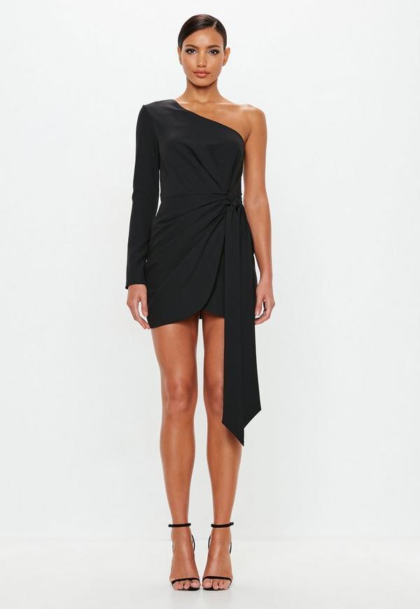 Peace Love Black Wrap One Shoulder Mini Dress Missguided