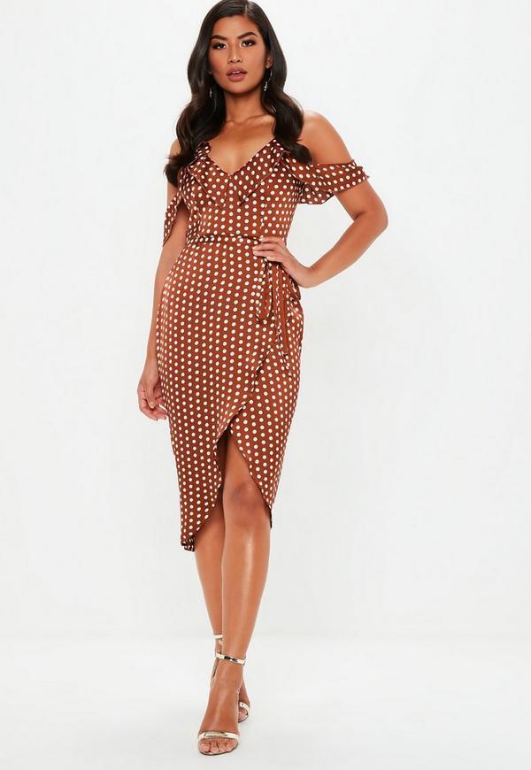 Rust Spot Print Satin Frill Midi Tea Dress Missguided