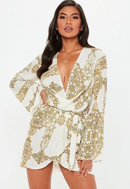Robe drappée blanche imprimé chaînes