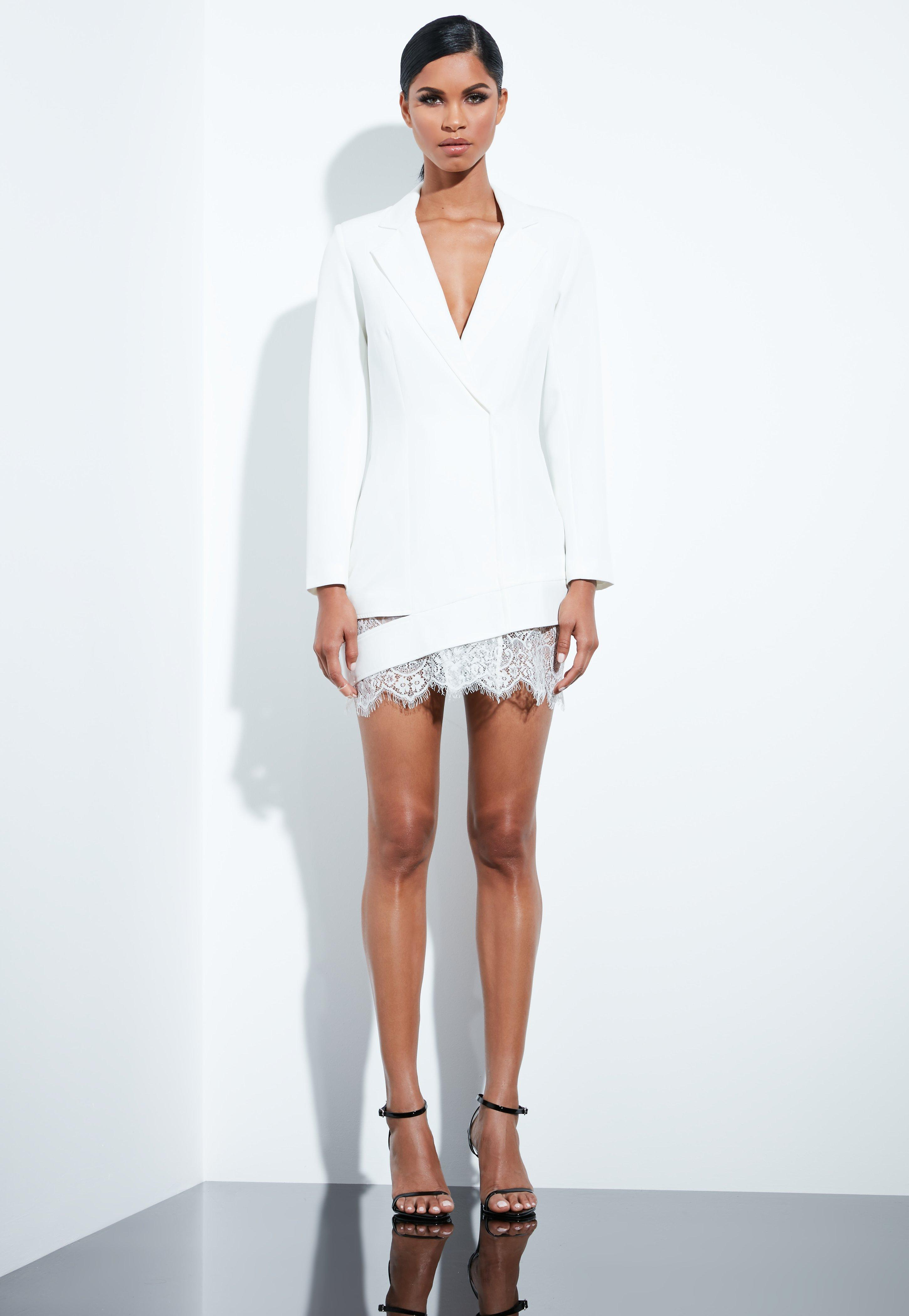 22b0c36957c Peace + Love White Lace Hem Blazer Dress
