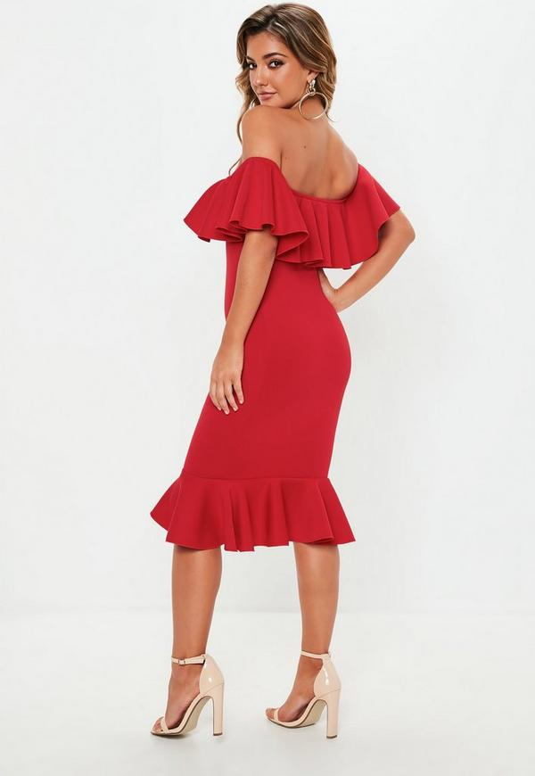 Red Bardot Frill Fishtail Midi Dress Missguided