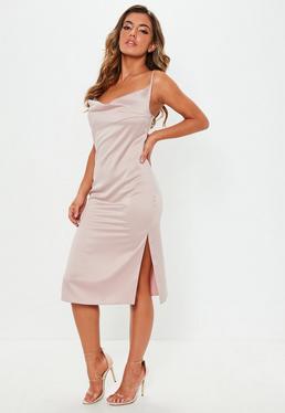 a2f2c93fad6 ... Nude Satin Strappy Cowl Midi Dress