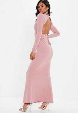 Mauve Long Sleeve Open Back Maxi Dress
