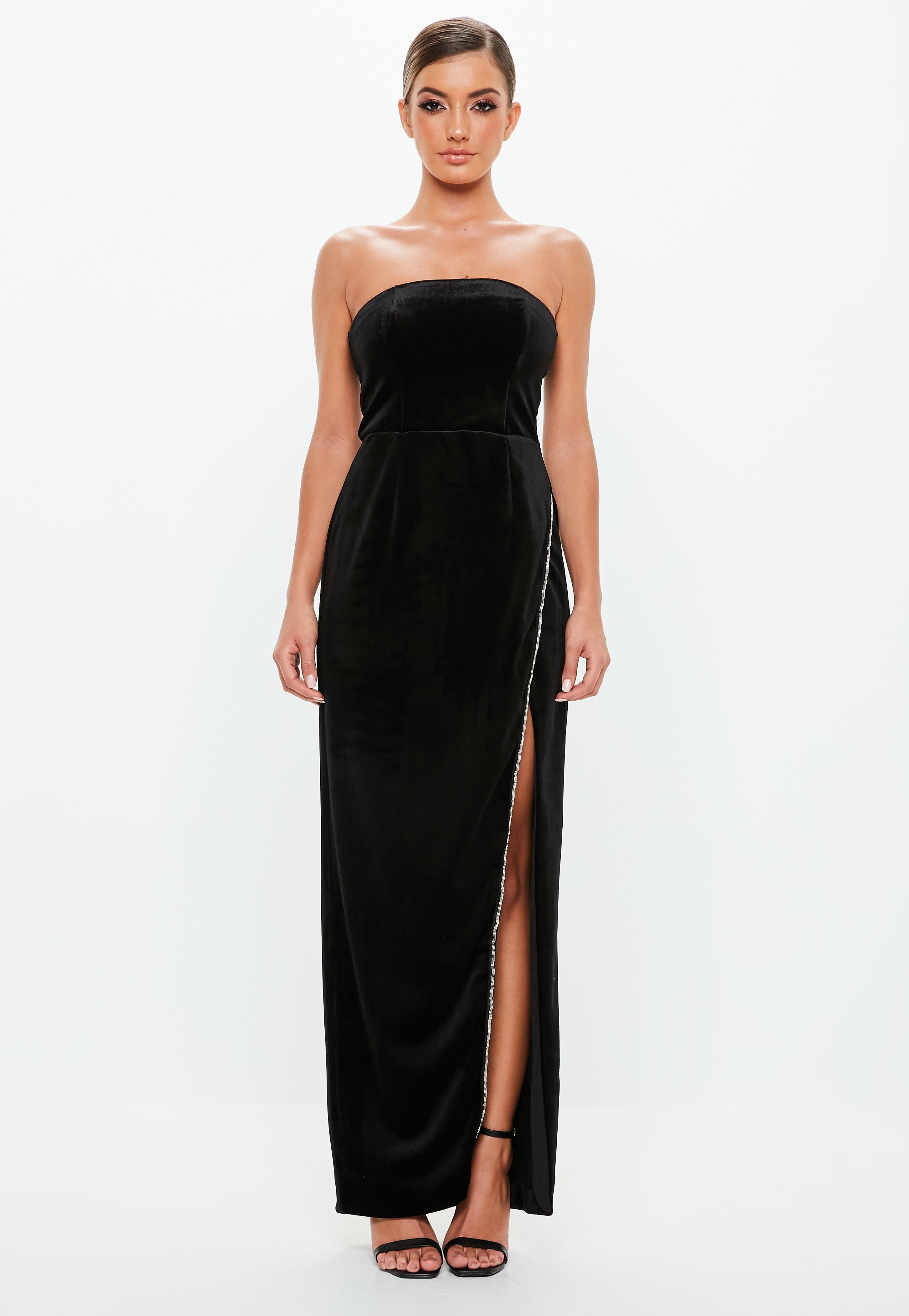 2e59b89e966 Peace + Love Black Velvet Bandeau Maxi Dress | Missguided