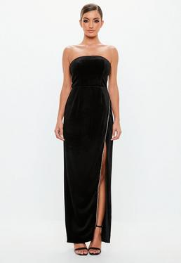 6bb314312be5 ... Peace + Love Black Velvet Bandeau Maxi Dress