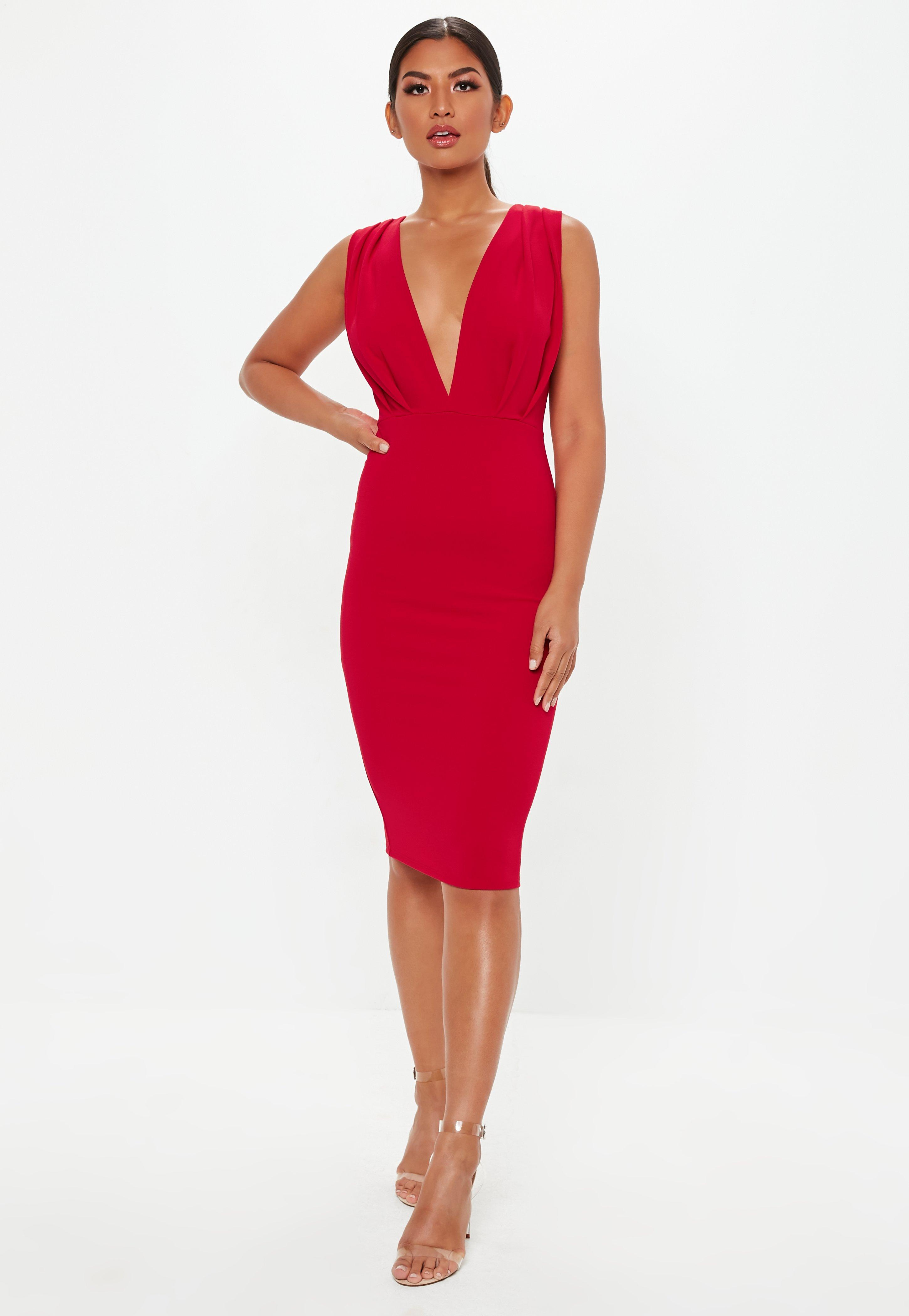 Red Plunge Gathered Midi Dress  f68dd5ec7