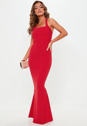 636dbb377a Red Plunge Scallop Trim Lace Maxi Dress