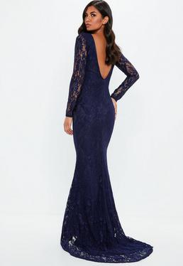 Navy Low Back Lace Maxi Dress