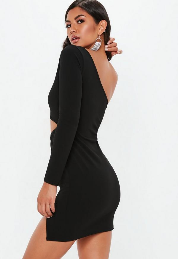 Black One Shoulder Cut Out Mini Dress Missguided