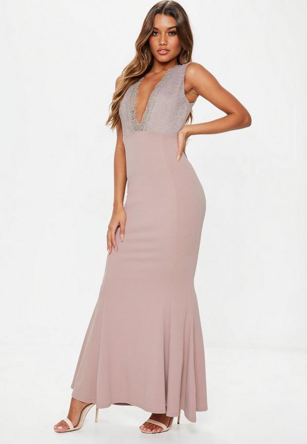 Missguided Women's Mauve Plunge Lace Maxi Dress
