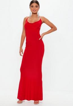 a37618504a Red Slinky Cowl Maxi Dress
