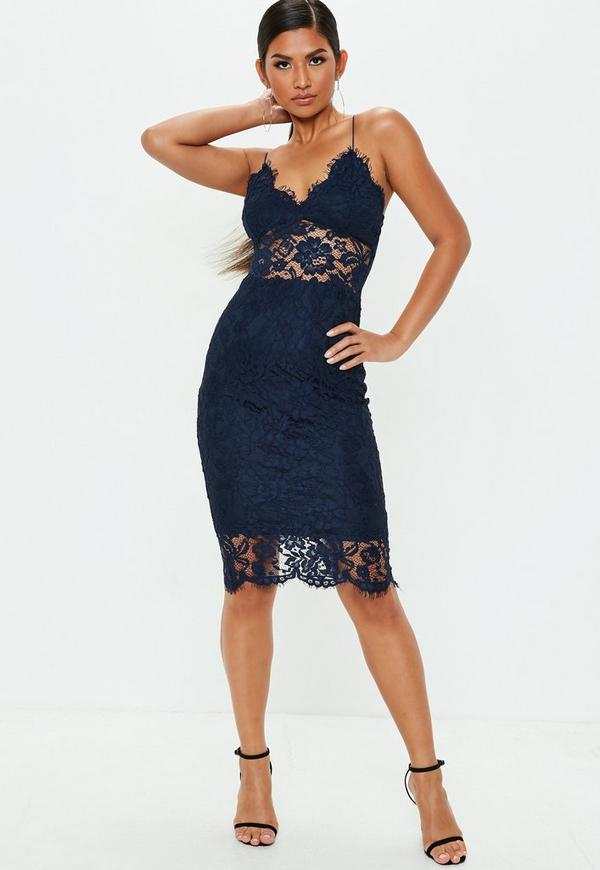 848202188b5 Lilac Strappy Lace Bodycon Midi Dress
