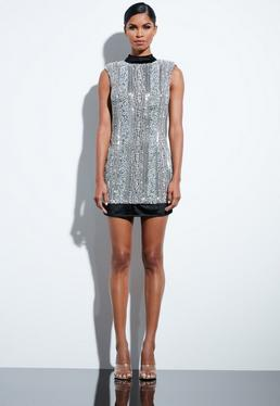 Peace Love Silver Embellished Sequin High Neck Dress