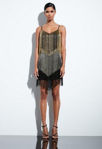Peace Love Black Beaded Fringe Mini Dress Missguided