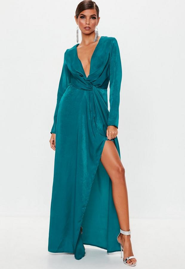 Missguided Women's Teal Wrap Front Maxi Dress