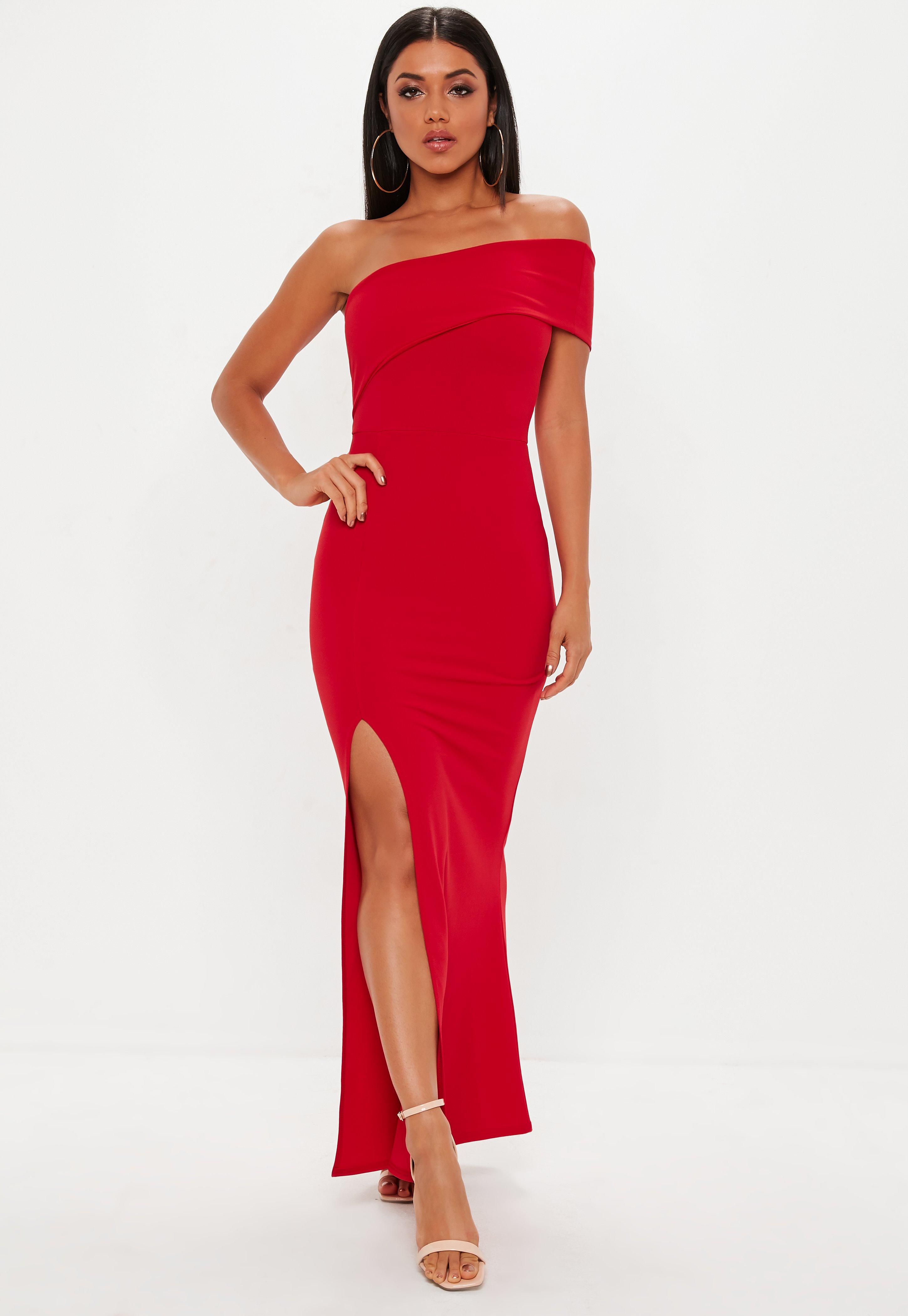 One-Shoulder Maxikleid in Rot | Missguided
