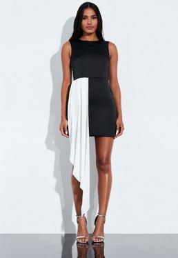 cec537ff4 Peace + Love Vestido con bajo asimétrico de satén en negro