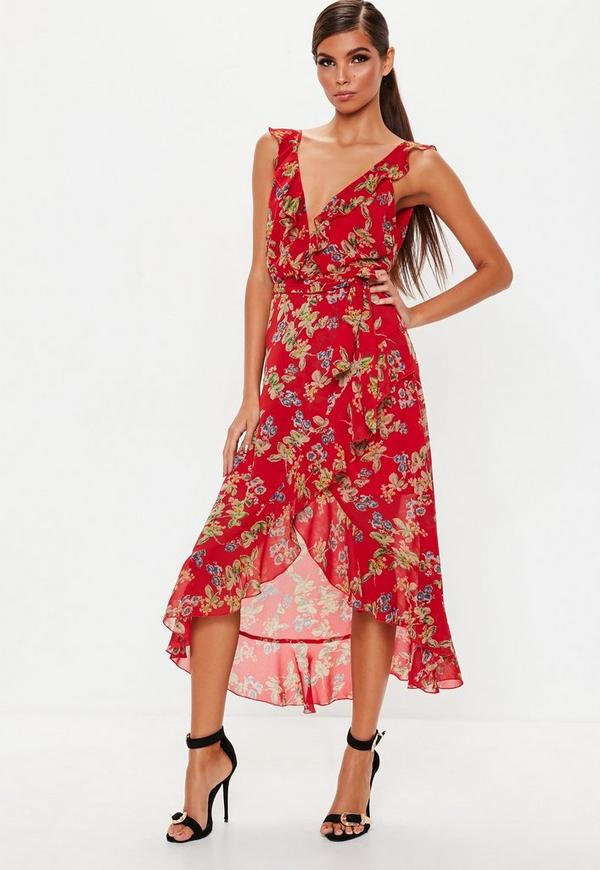 Red Floral Frill Detail Midi Dress by Missguided