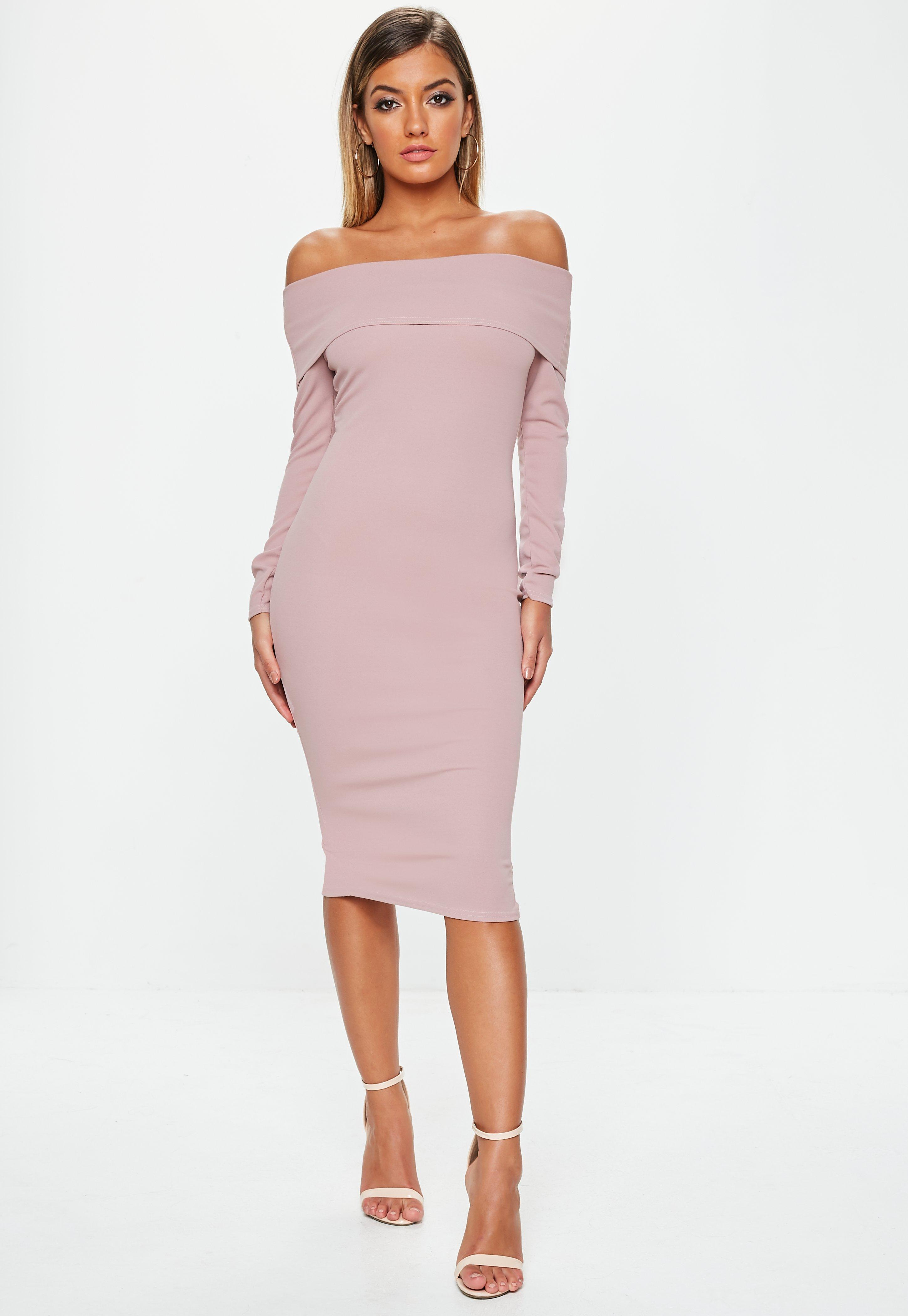 7c08a08f6621 Mauve Bardot Long Sleeve Midi Dress