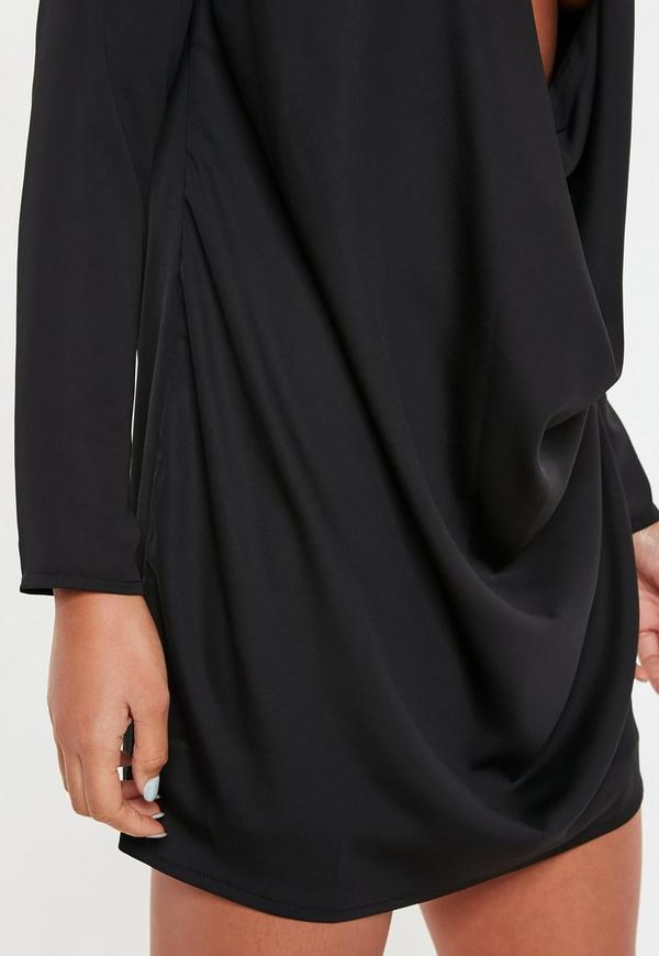 Black Satin Extreme Cowl Mini Dress Missguided