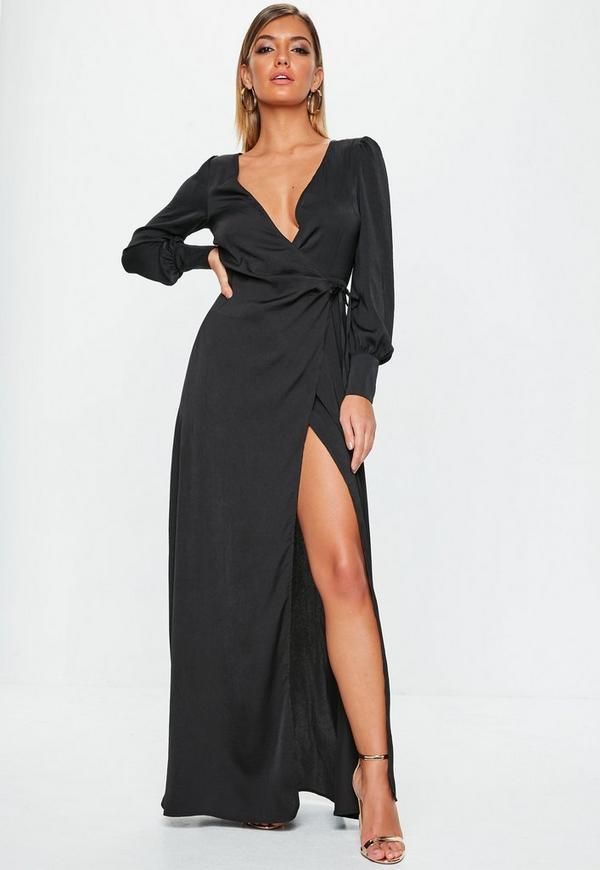 Black Satin Tie Side Maxi Dress Missguided