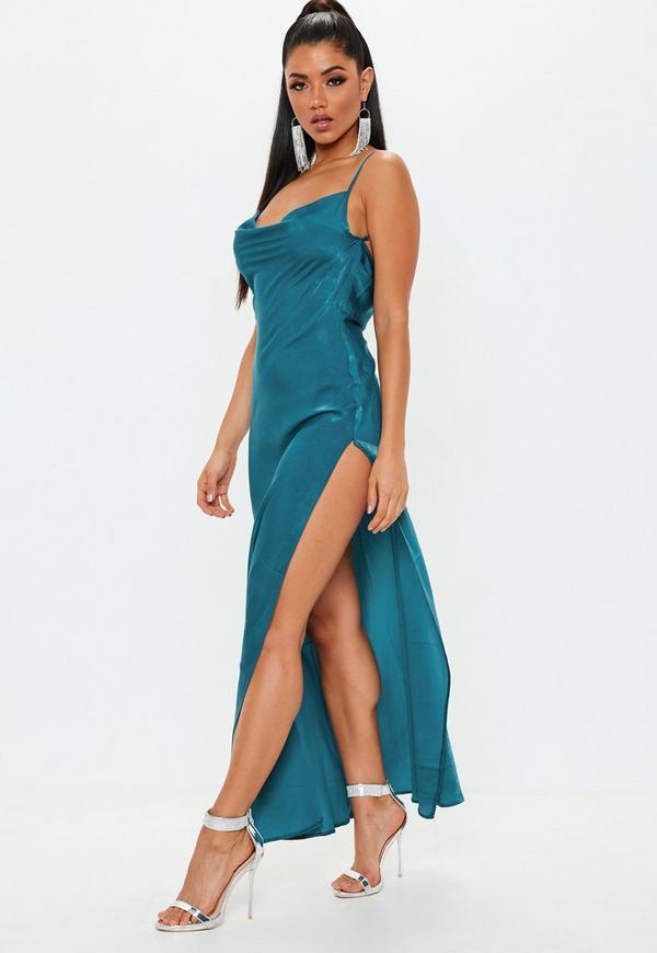 Teal Satin Cowl Maxi Dress  c1279b735