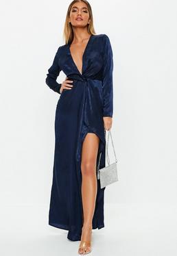 navy wrap front maxi dress