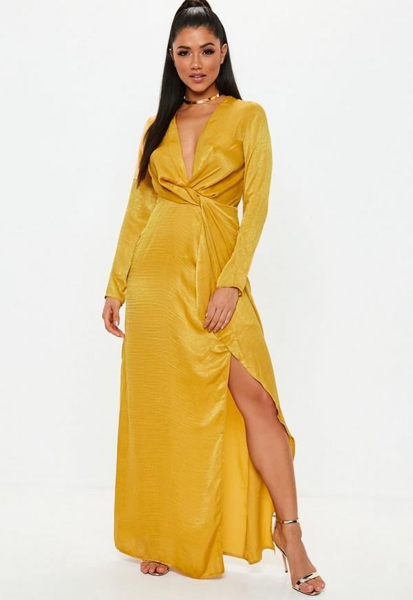 Mustard Wrap Front Maxi Dress Missguided