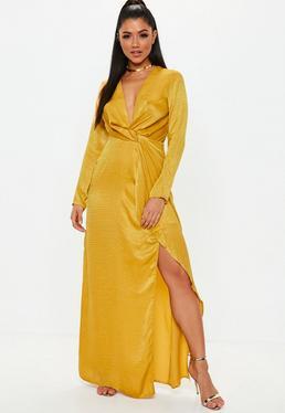 Mustard Wrap Front Maxi Dress