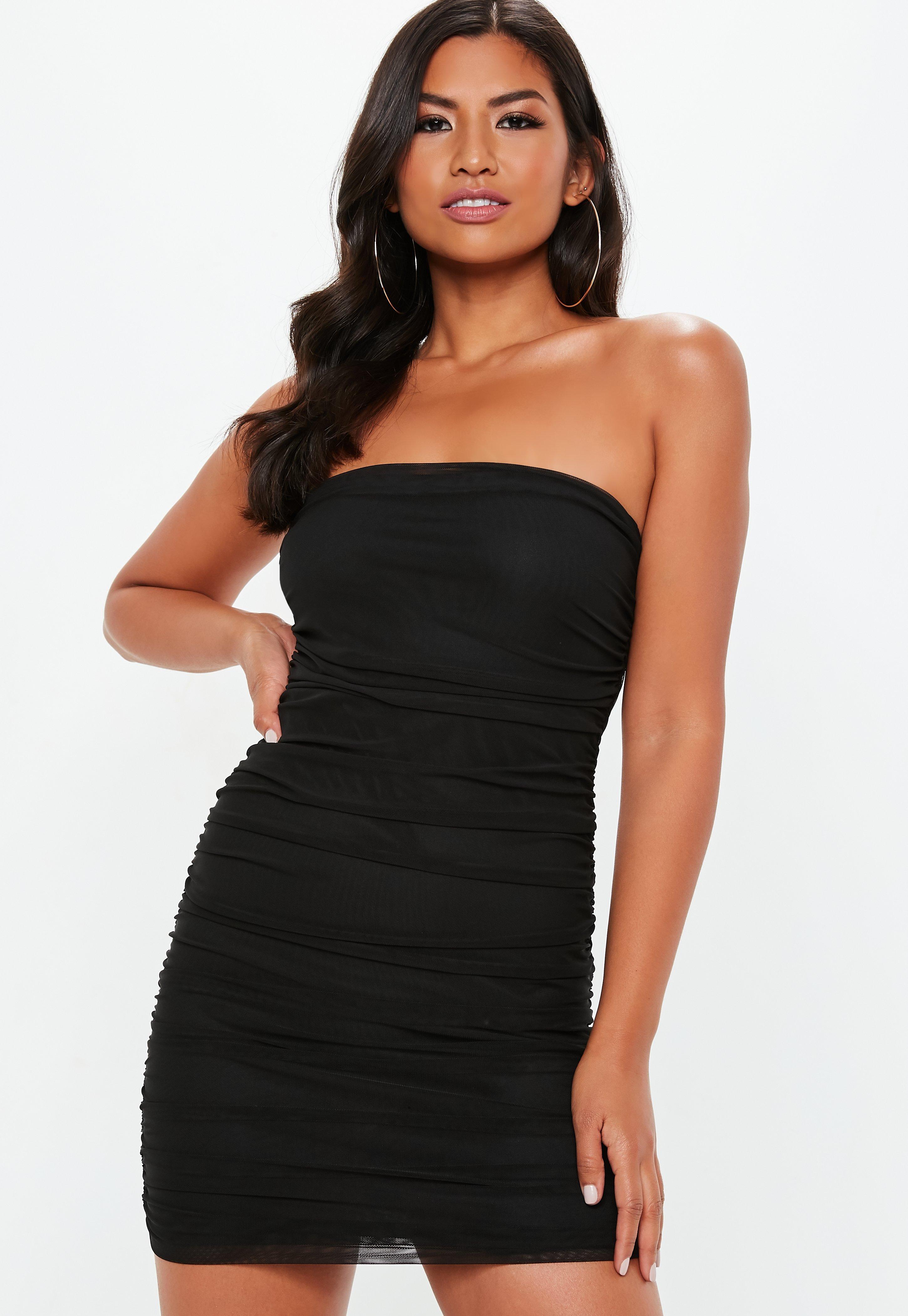 d95d1dd100f black-mesh-ruched-bandeau-bodycon-dress
