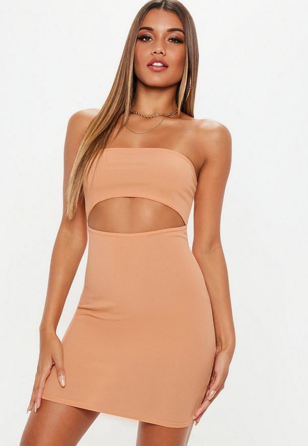 Product photo of Camel bandeau ribbed cut out dress brown