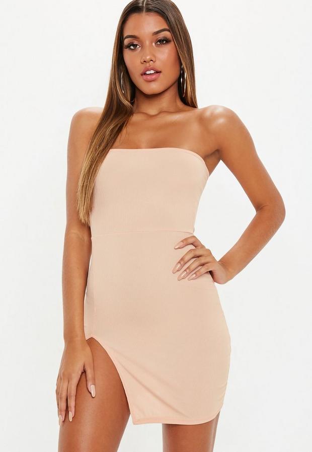 fb1ffc0d6b423 Sand Bandeau Ribbed Thigh Split Mini Dress from Missguided (US & Canada)