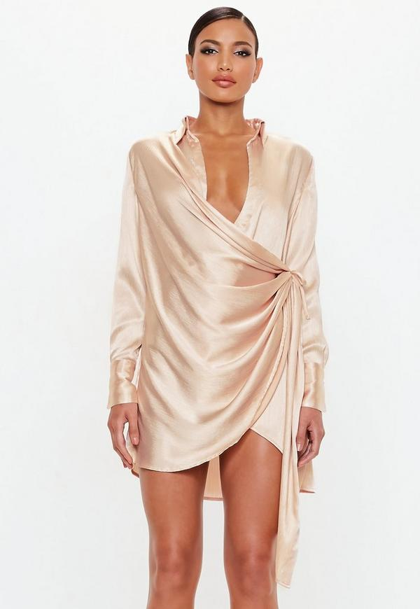 Peace + Love Gold Textured Satin Wrap Dress  4f5574304
