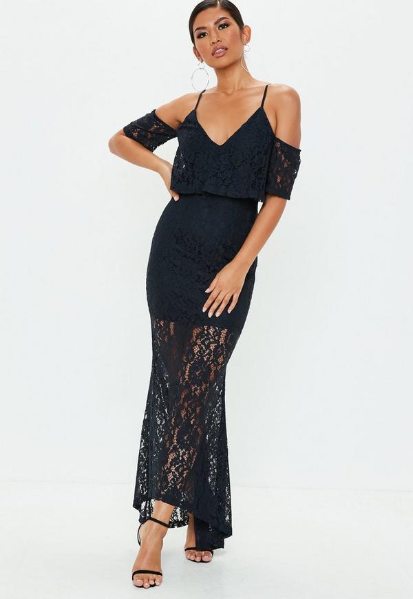 b042afaf54d7c0 Navy Cold Shoulder Lace Maxi Dress