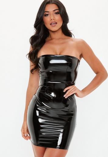 Black Bandeau Vinyl Mini Dress | Missguided