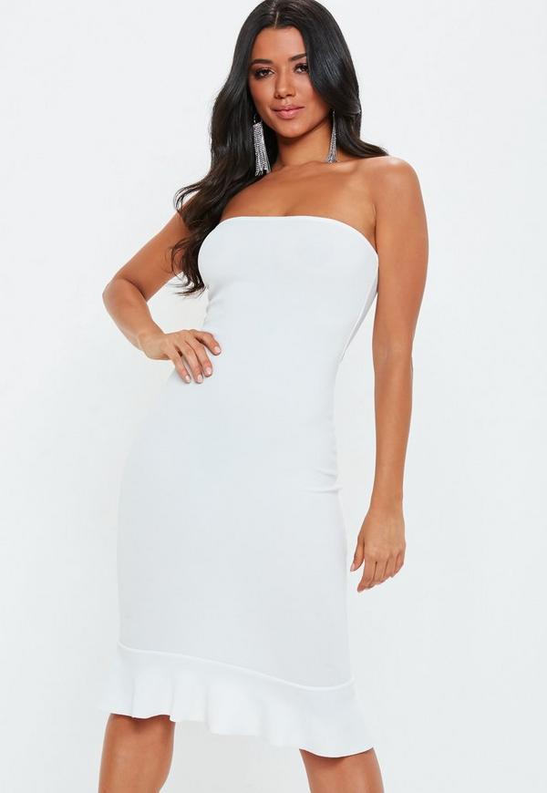 7e49e7d0fe54f White Bandeau Flippy Hem Midi Dress