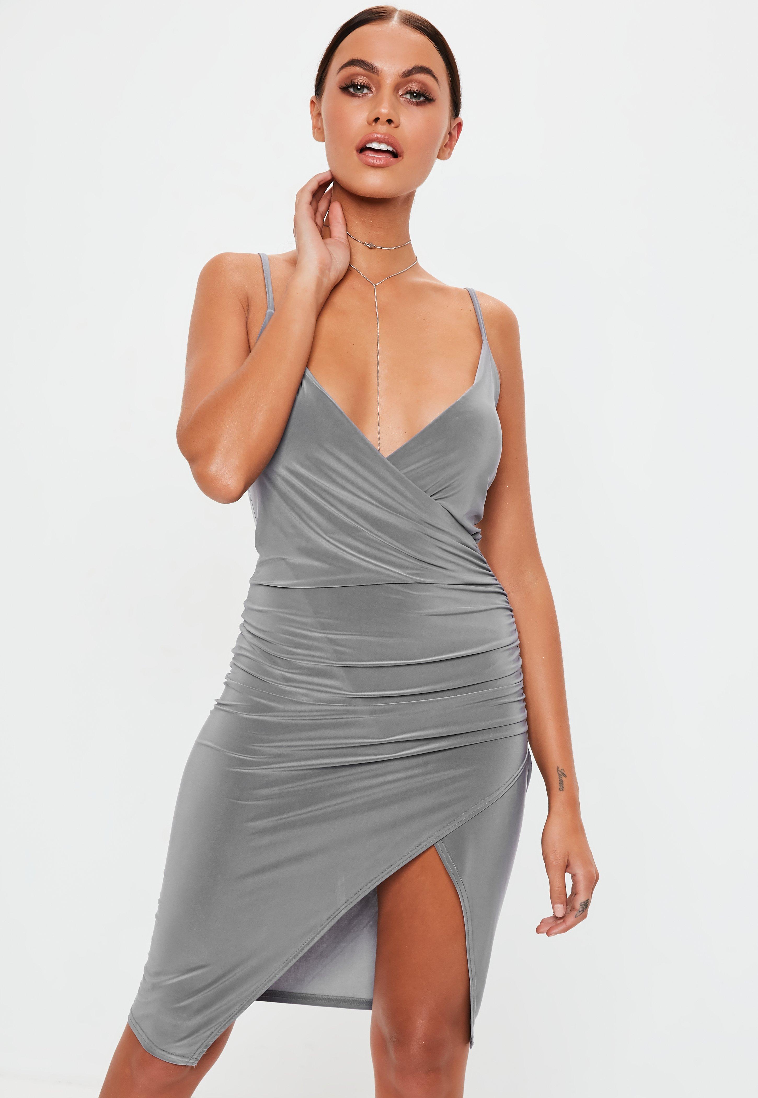 4c46462d2d19 Grey Slate Strappy Slinky Wrap Bodycon Midi Dress