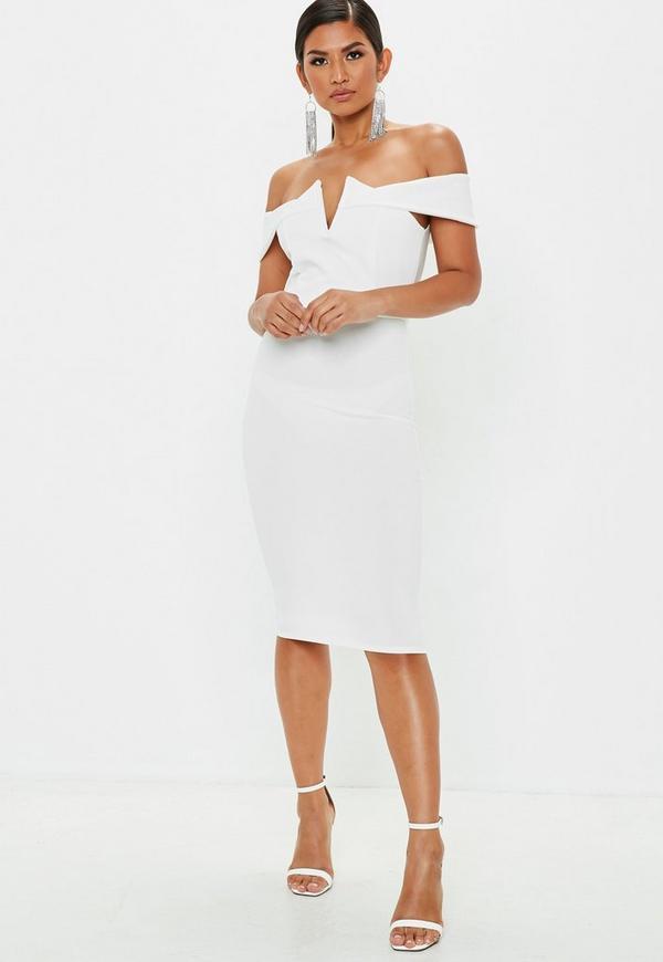 ... White Bardot Midi Dress. Previous Next fa7c4841fd41