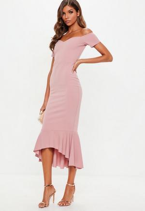 50adf834578 Red Scuba Square Neck Frill Hem Bodycon Midi Dress