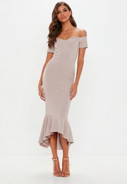 Grey Bardot Fishtail Hem Midi Dress