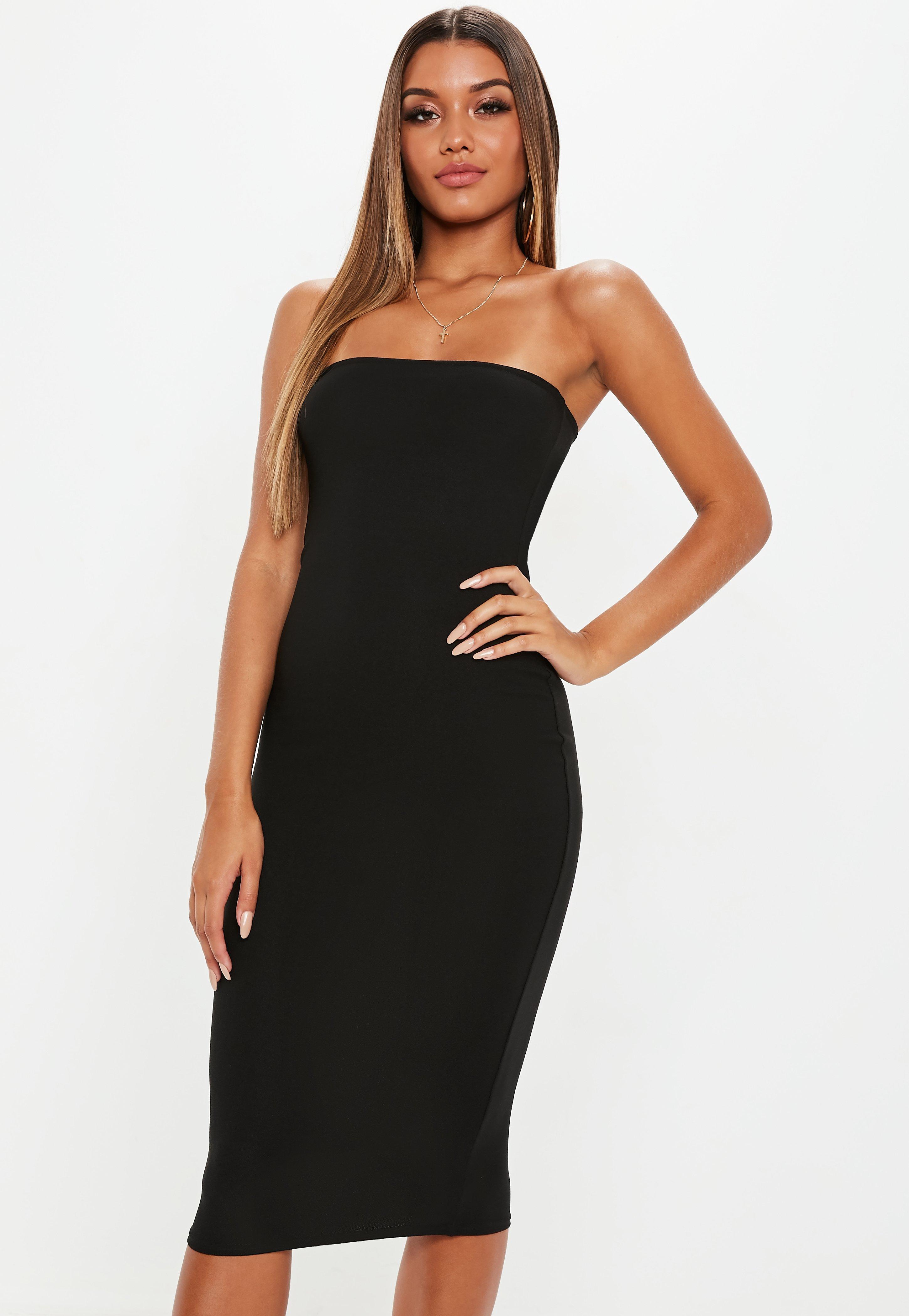 65324cacc42 Black Bandeau Midi Bodycon Dress