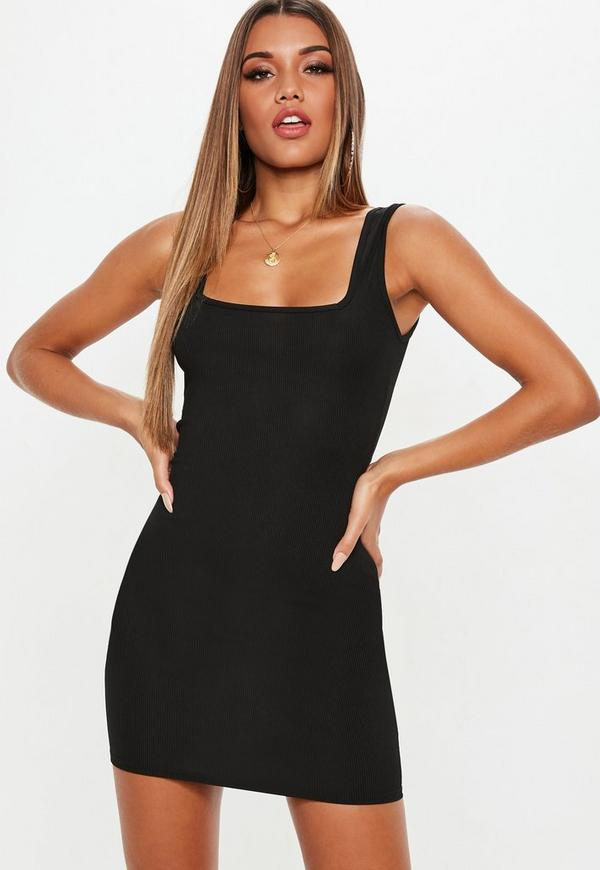 Black Square Neck Bodycon Dress Missguided