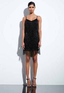 peace love black fringed mini dress - Black Christmas Dress