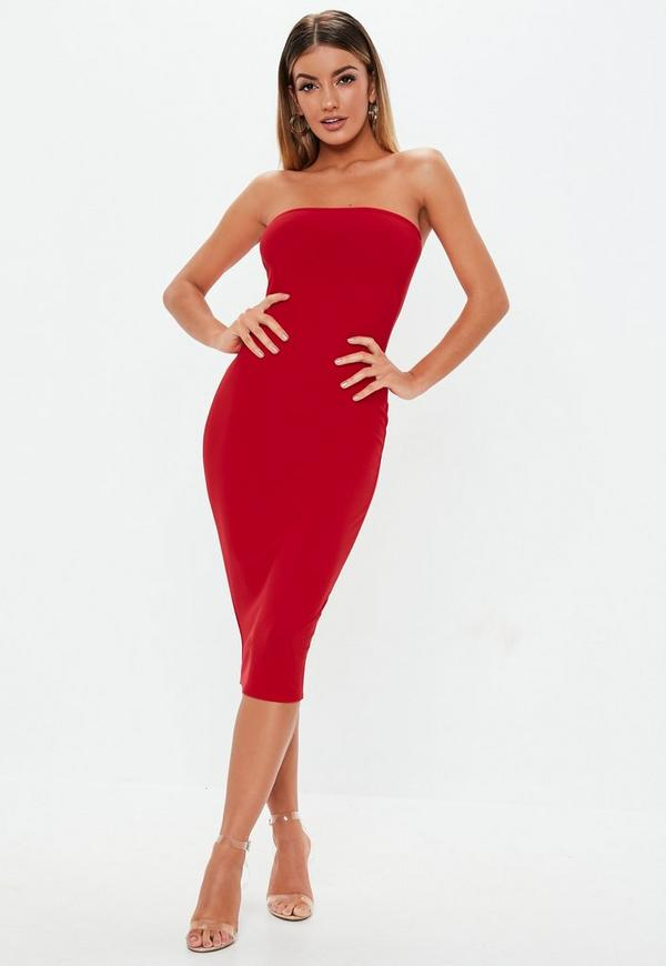 93f29211a20 Red Bandeau Bodycon Midi Dress